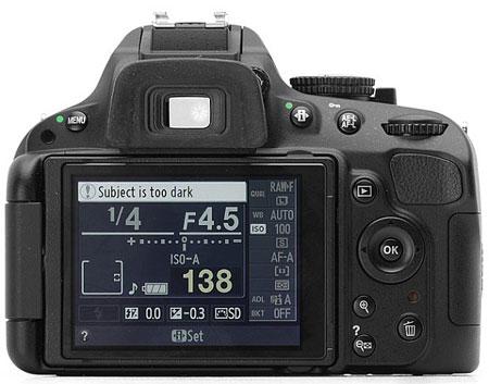 Цифровая зеркальная фотокамера Nikon D5100 (вид сзади)
